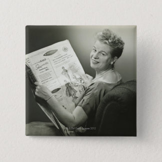 Woman Sitting in Chair 15 Cm Square Badge