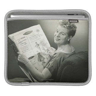 Woman Sitting in Chair iPad Sleeve