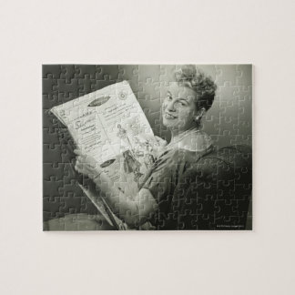 Woman Sitting in Chair Jigsaw Puzzle