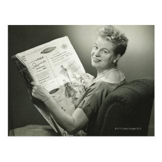 Woman Sitting in Chair Postcard