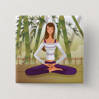 Woman sitting in lotus position, meditating 15 cm square badge