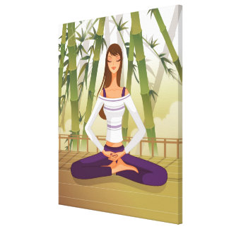 Woman sitting in lotus position, meditating canvas print