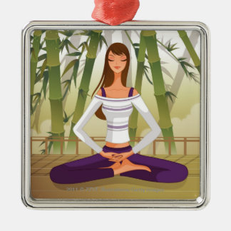 Woman sitting in lotus position, meditating christmas ornament