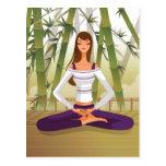 Woman sitting in lotus position, meditating postcard