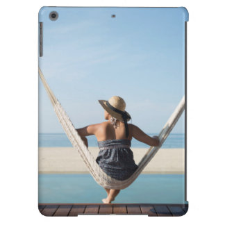 Woman Sitting On A Hammock At A Small Hotel iPad Air Cover