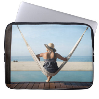 Woman Sitting On A Hammock At A Small Hotel Laptop Sleeve