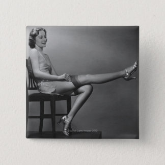 Woman Sitting on Chair 15 Cm Square Badge