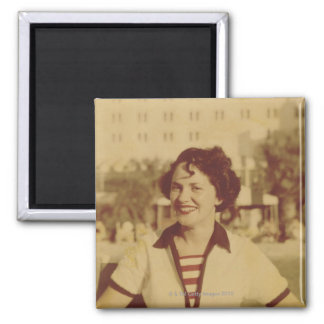 Woman Sitting Outside Square Magnet