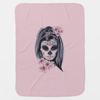 Woman skeleton mask baby blanket