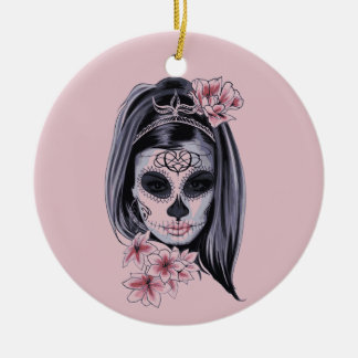 Woman skeleton mask christmas ornament