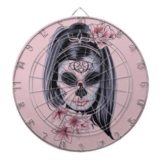 Woman skeleton mask dartboard