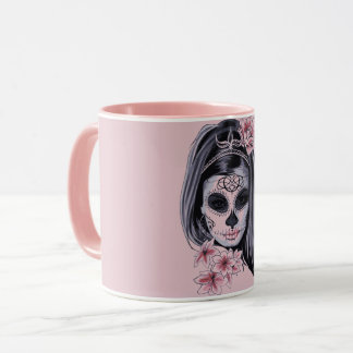 Woman skeleton mask mug