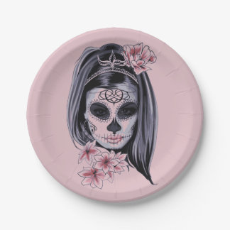 Woman skeleton mask paper plate