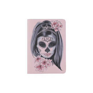 Woman skeleton mask passport holder