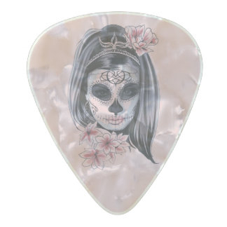 Woman skeleton mask pearl celluloid guitar pick