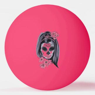 Woman skeleton mask ping pong ball