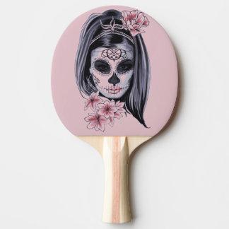Woman skeleton mask ping pong paddle