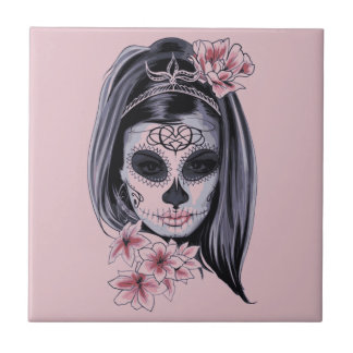 Woman skeleton mask tile