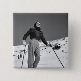 Woman Skier 15 Cm Square Badge