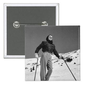 Woman Skier 15 Cm Square Badge