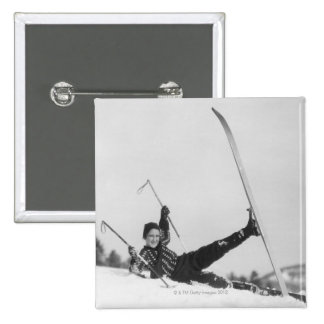 Woman Skier 2 15 Cm Square Badge