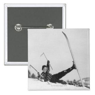 Woman Skier 2 15 Cm Square Badge