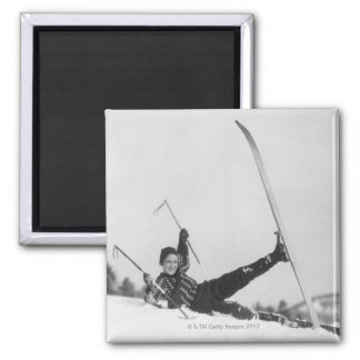 Woman Skier 2 Square Magnet