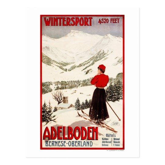 Woman Skier Overlooking Adelboden Poster Postcard