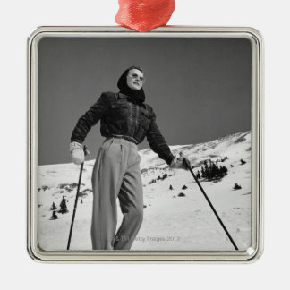 Woman Skier Silver-Colored Square Decoration