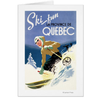 Woman Skiing - Both English and French Poster Card
