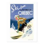Woman Skiing - Both English and French Poster Post Card