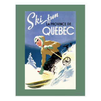 Woman Skiing - Both English and French Poster Postcard