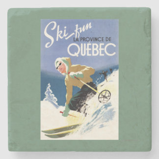 Woman Skiing - Both English and French Poster Stone Beverage Coaster
