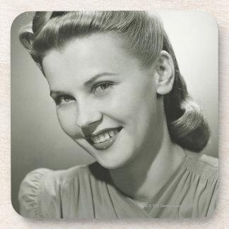 Woman Smiling 2 Beverage Coasters
