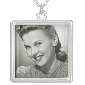 Woman Smiling 2 Square Pendant Necklace