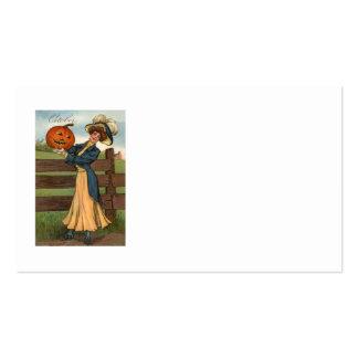 Woman Smiling Jack O' Lantern Pumpkin Farm Pack Of Standard Business Cards