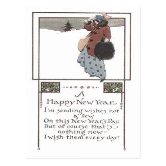 Woman Snow Holly Postcard