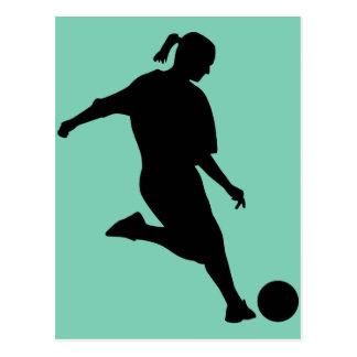 woman soccer postcard