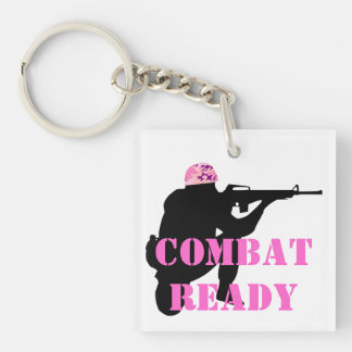 Woman Soldier With Pink Camouflage Helmet Key Ring