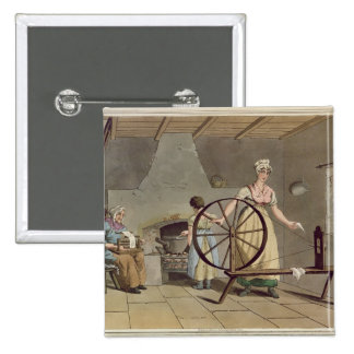 Woman Spinning, from 'Costume of Yorkshire' 15 Cm Square Badge