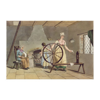 Woman Spinning, from 'Costume of Yorkshire' Canvas Print
