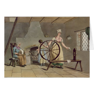 Woman Spinning, from 'Costume of Yorkshire' Card