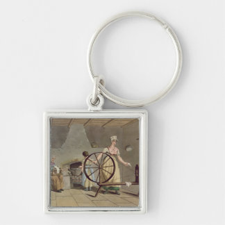 Woman Spinning, from 'Costume of Yorkshire' Key Ring