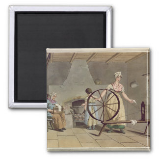 Woman Spinning, from 'Costume of Yorkshire' Magnet
