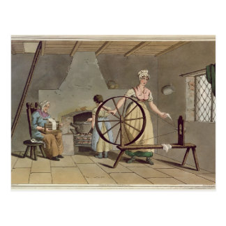 Woman Spinning, from 'Costume of Yorkshire' Postcard