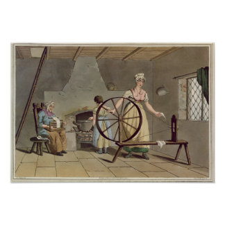 Woman Spinning, from 'Costume of Yorkshire' Poster