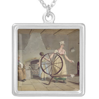Woman Spinning, from 'Costume of Yorkshire' Silver Plated Necklace