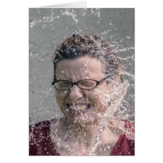 Woman splashed with water blank card