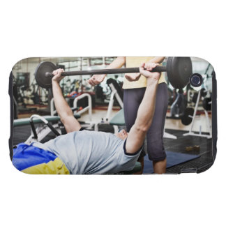 Woman spotting man lifting barbell iPhone 3 tough covers