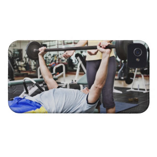Woman spotting man lifting barbell iPhone 4 Case-Mate case